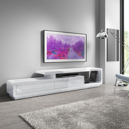 Evoque XL White High Gloss TV Unit with 2 Touch Open Drawers