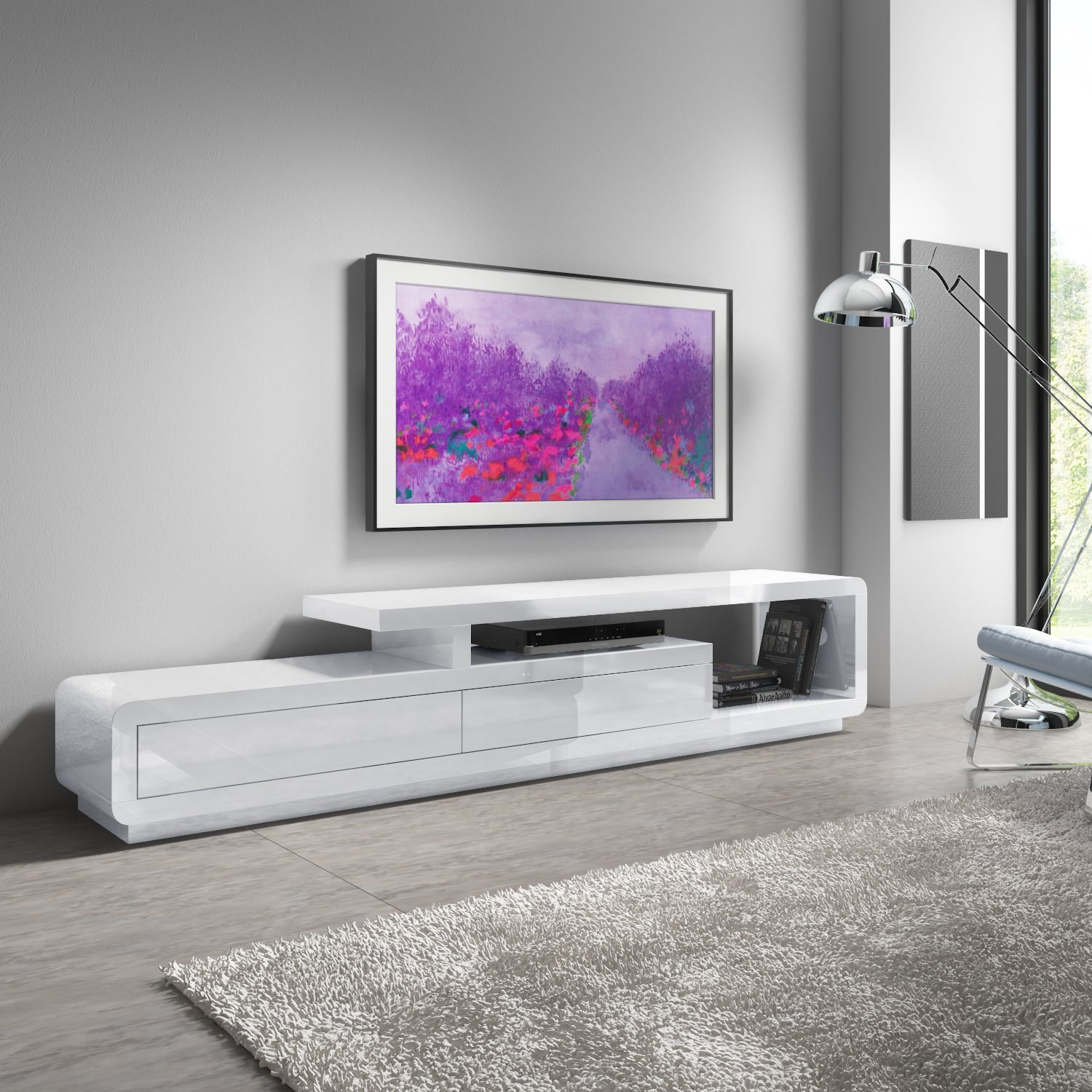 sale retailer 092c7 a3b96 Evoque XL White High Gloss TV Unit with Touch Open Drawers - TV's up to 47
