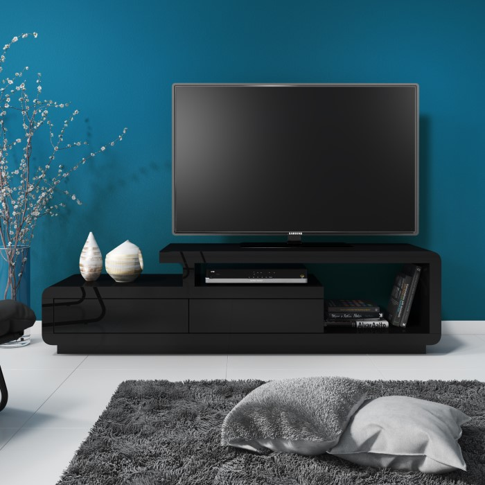 Evoque Black High Gloss Tv Unit Stand With Storage Drawers