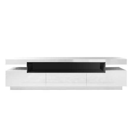 Evoque Rectangular High Gloss White TV Unit with Grey Gloss Detail