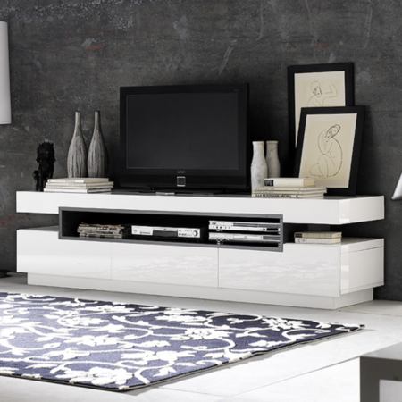 evoque rectangular high gloss white tv unit with grey high. Black Bedroom Furniture Sets. Home Design Ideas