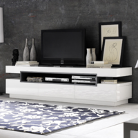 Evoque Rectangular High Gloss White TV Unit with Grey High Gloss Detail