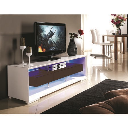 Evoque Led White On Grey High Gloss Tv Unit With Storage Furniture123