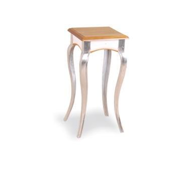 Signature North Retro Glam Pine Tall Lamp Table in White with Aluminium Legs