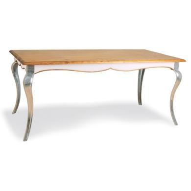 Signature North Retro Glam Large Pine Dining Table in White with Aluminium Legs