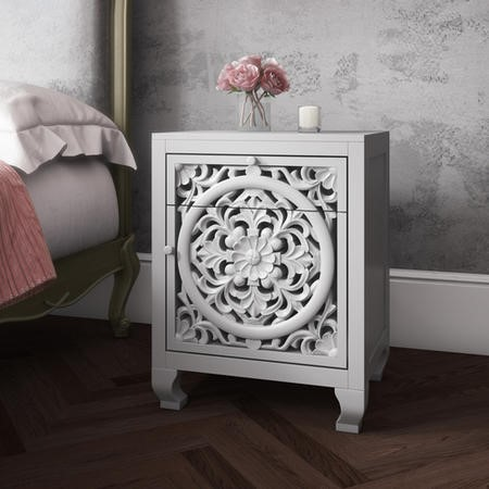 Fraya Pale Grey Bedside Table with Hand Carved Detail