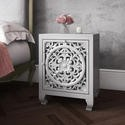 GRADE A1 - Fraya Pale Grey Bedside Table with Hand Carved Detail