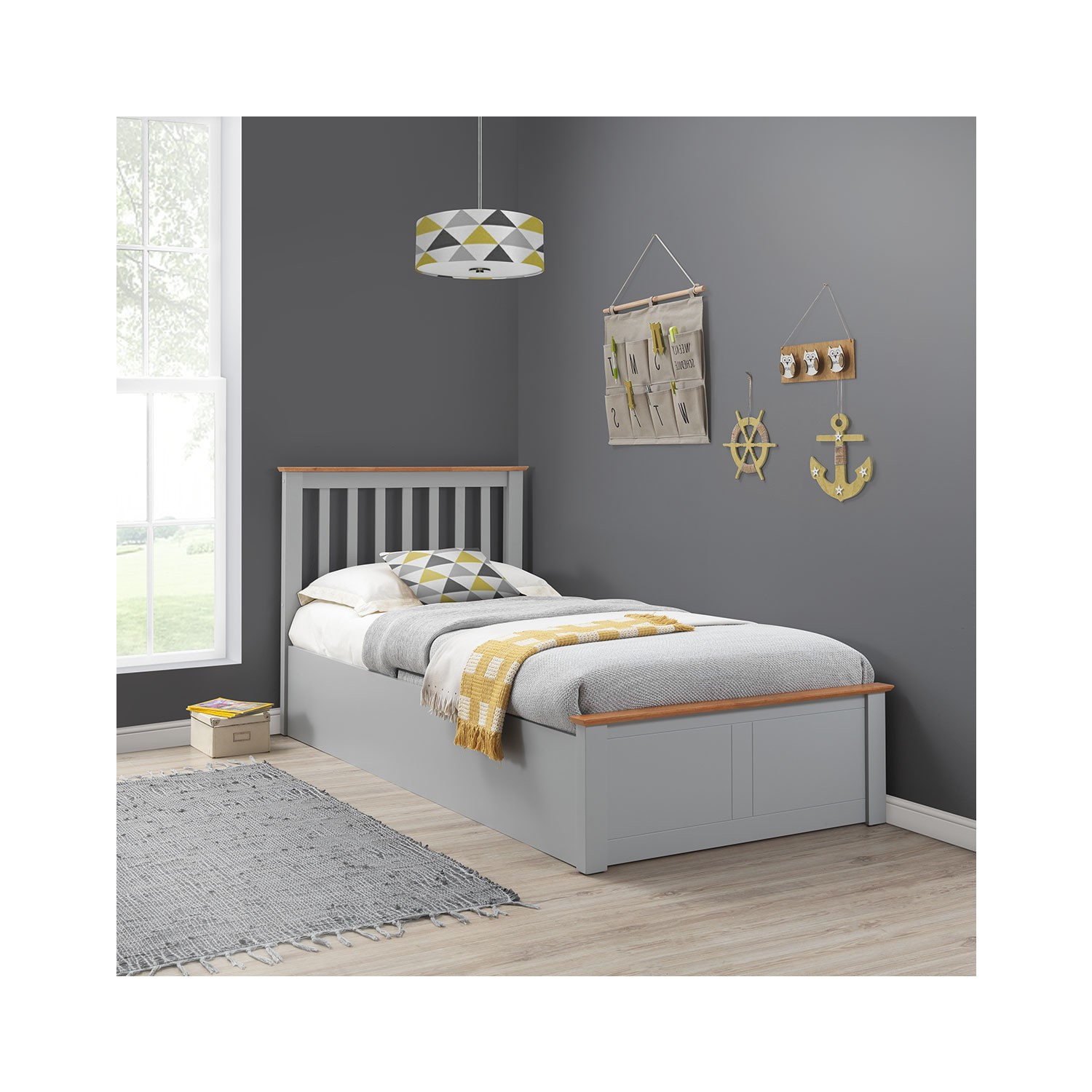 Picture of: Francis Wooden Single Ottoman Bed In Grey Furniture123
