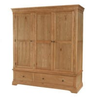 Bayonne Oak Triple Wardrobe With Drawers