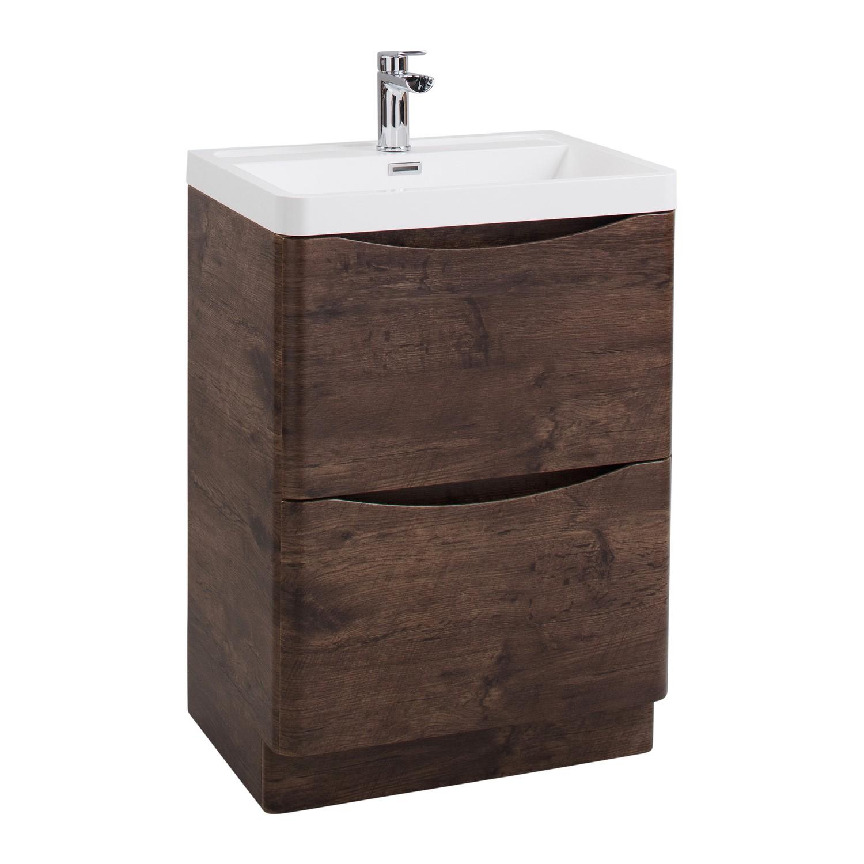 Walnut Free Standing Bathroom Vanity Unit Basin W600mm Furniture123