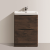 Walnut Free Standing Bathroom Vanity Unit & Basin - W600mm