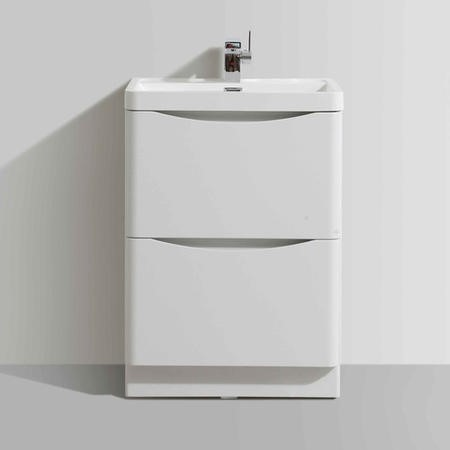 White Free Standing Bathroom Vanity Unit & Basin - W600 x H850mm