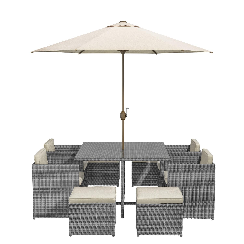 Grey Rattan 9 Piece Cube Garden Dining Set - Parasol Included