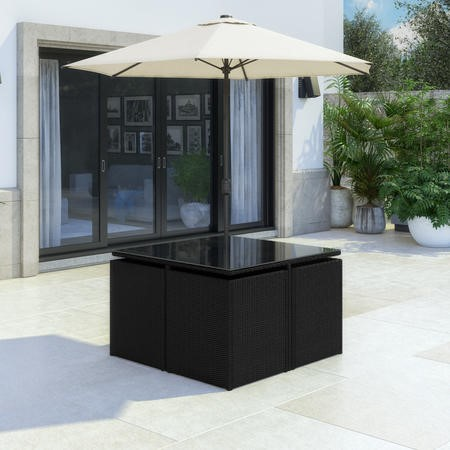 Rattan 6 Piece Garden Cube Dining Set in Black - Parasol Included