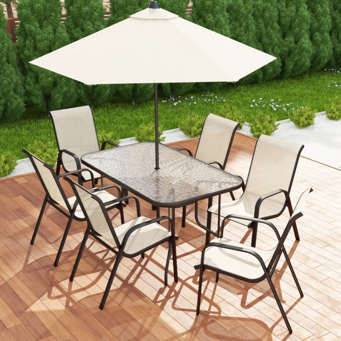 GRADE A1 Brown Metal And Cream 6 Seater Garden Dining Set Parasol Include