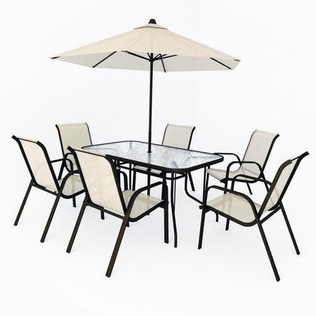 Provence 4 Seater Metal Dining Set With Parasol Provence 6 Seater