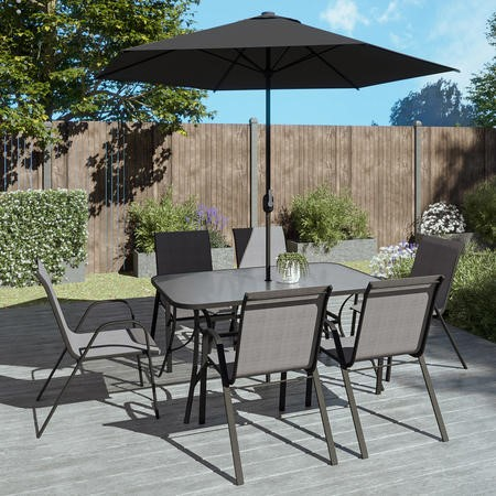 Black And Grey Metal 6 Seater Garden Furniture Set   Parasol Included