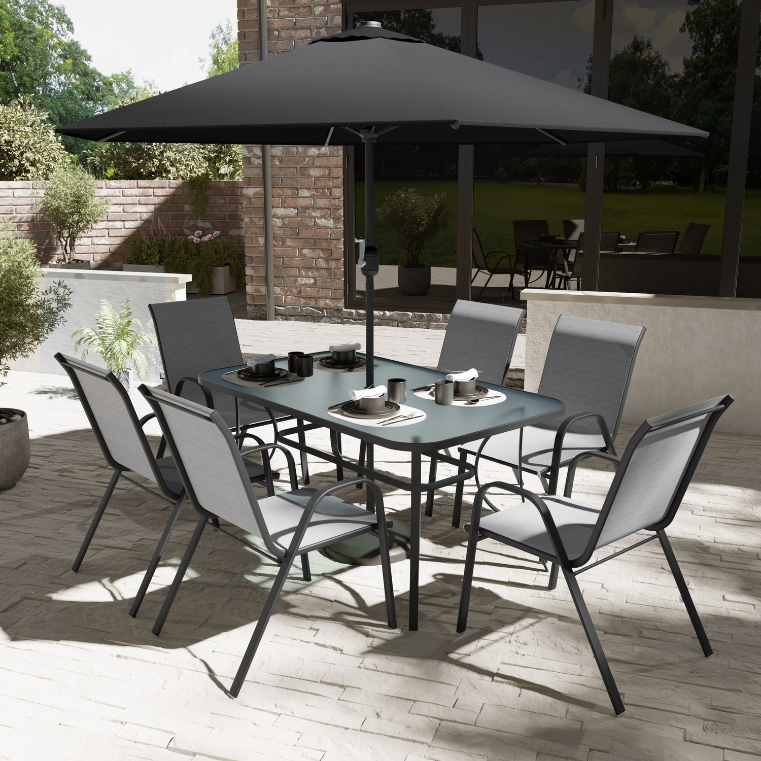 Black & Grey Metal 9 Seater Garden Dining Set - Parasol Included