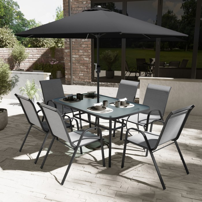 Black Metal 6 Seater Garden Furniture Set   Parasol Included. Black Metal 6 Seater Garden Furniture Set   Parasol Included