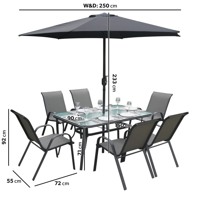 6 Seater Garden Furniture Black and grey metal 6 seater garden furniture set parasol black and grey metal 6 seater garden furniture set parasol included workwithnaturefo