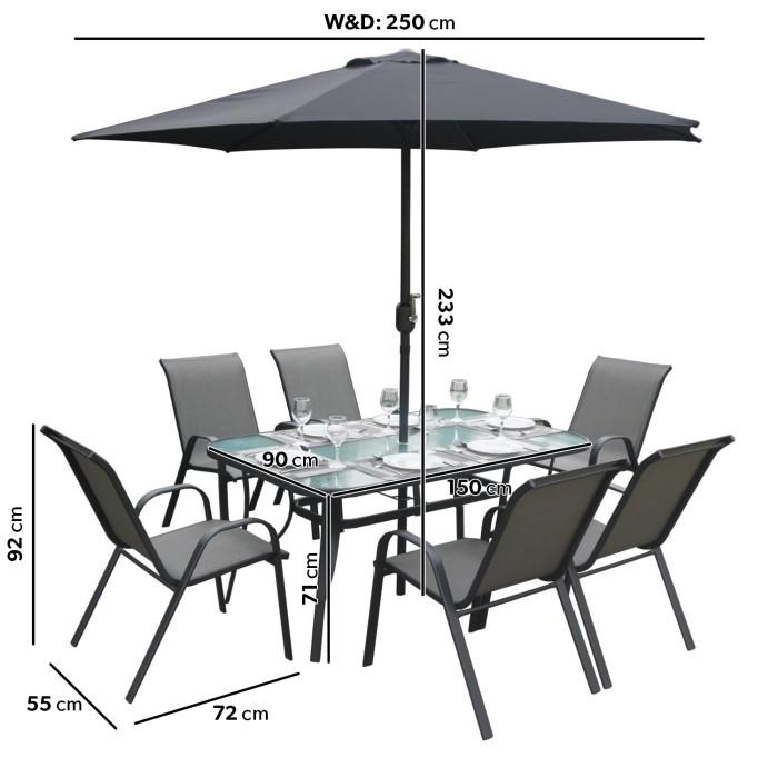 black metal 6 seater garden furniture set parasol included