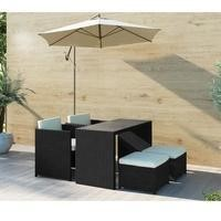 Fortrose Rattan 5 Piece Outdoor Garden Store Away Dining Set in Black