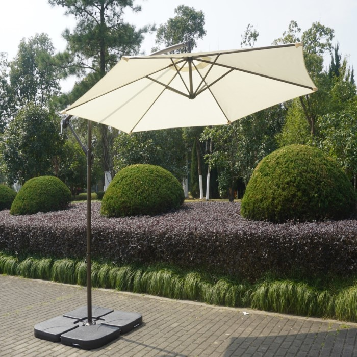 086293d05eca Large Cream Cantilever Outdoor Parasol - Weighted Base Included