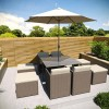 Brown Rattan 10 Piece Cube Garden Dining Set - Cream Parasol Included