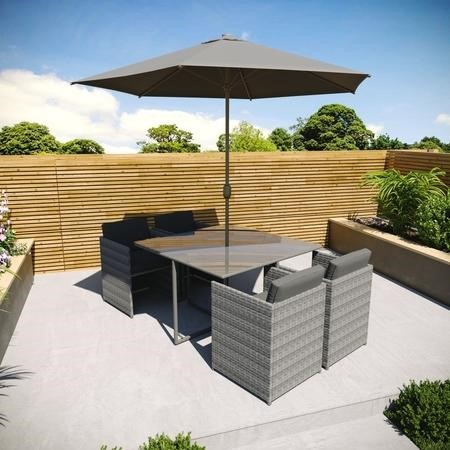 GRADE A1 - Rattan 6 Piece Cube Garden Furniture Dining Set in Dark Grey - Parasol Included