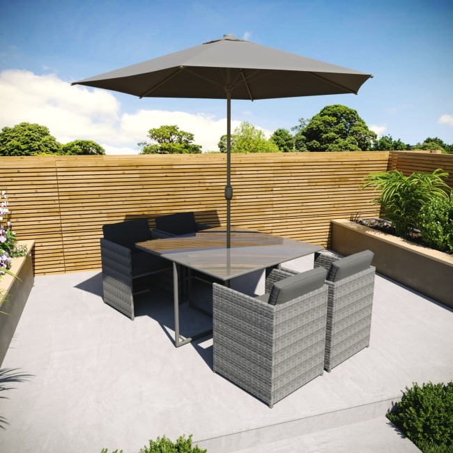 Dark Grey Rattan Cube Dining Set - 6 Piece with Parasol