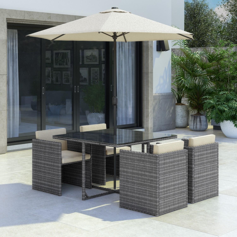 Grey Rattan 9 Piece Cube Garden Furniture Dining Set - Parasol Included