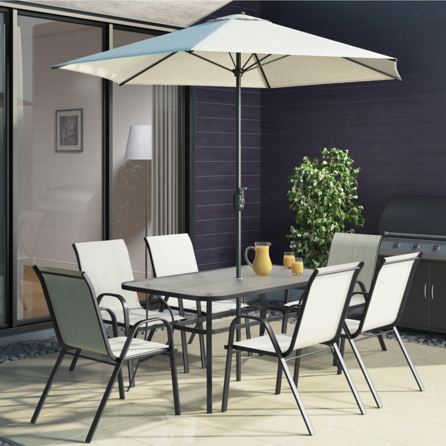 Black Metal And Cream 6 Seater Garden Furniture Set   Parasol Included