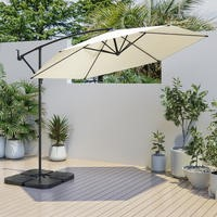 Large Cantilever Cream Parasol with Base & Cover