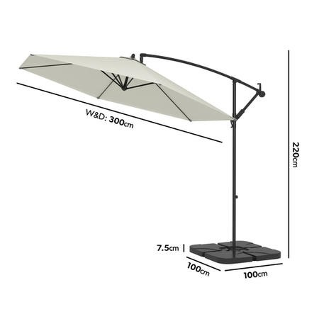 Large Grey Cantilever Outdoor Parasol - Weighted Base Included