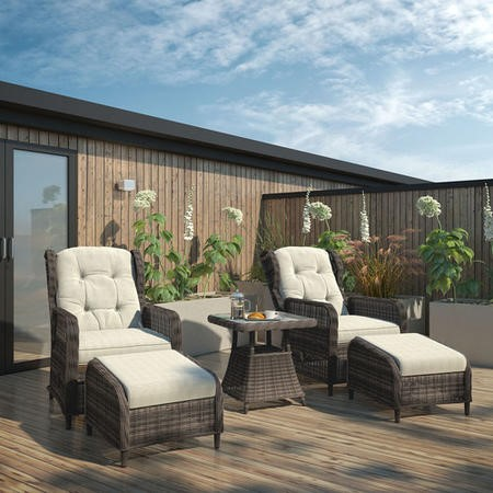 Reclining Rattan Garden Lounger Set in Brown with Table & Footstools - Aspen Range