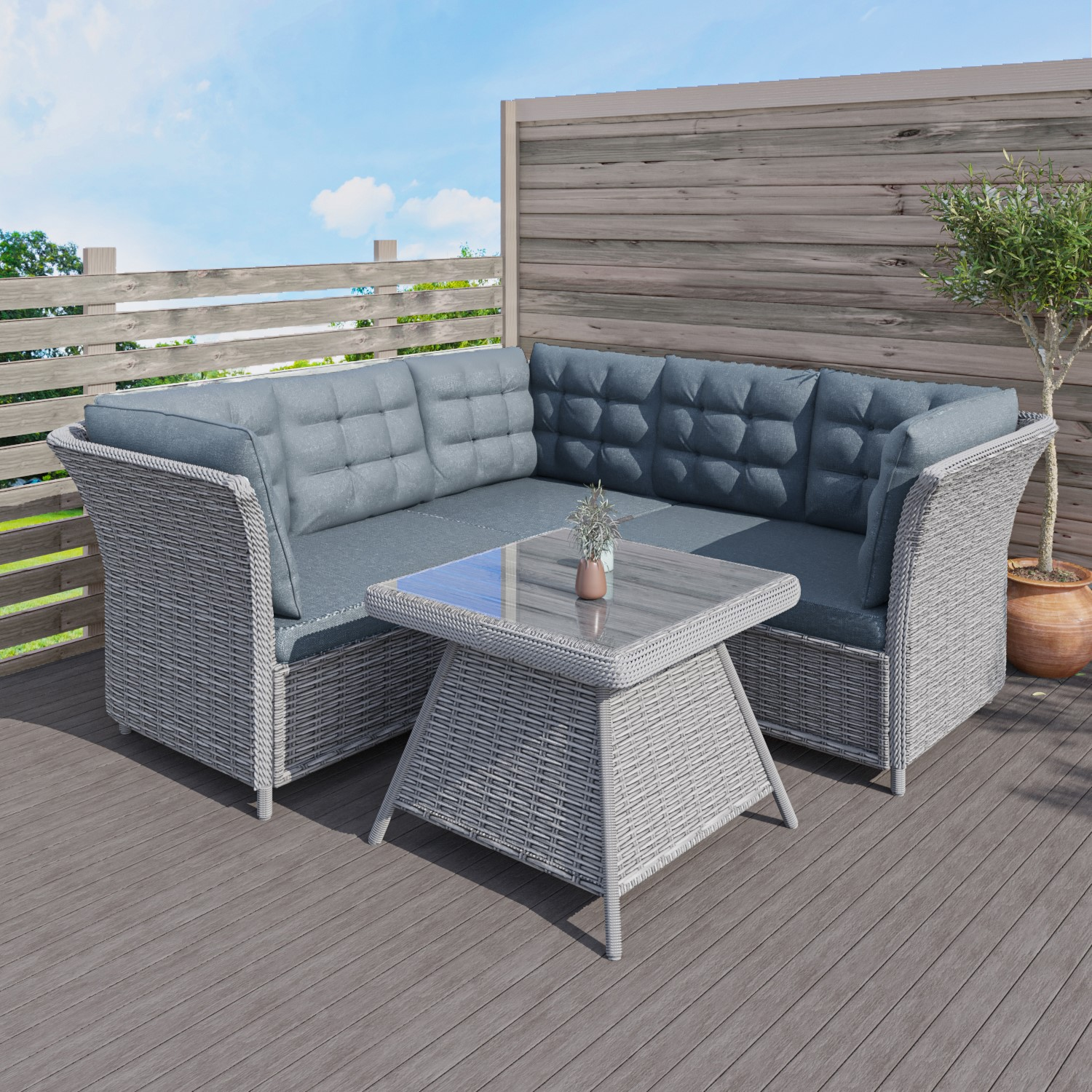 Wondrous Aspen Grey Rattan Garden Furniture Corner Sofa Table Cushions Included Gmtry Best Dining Table And Chair Ideas Images Gmtryco