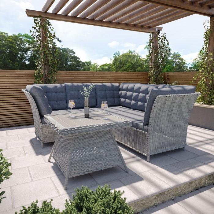 19e75904625d Aspen Grey Rattan Garden Furniture - Corner Sofa Table & Cushions  Included