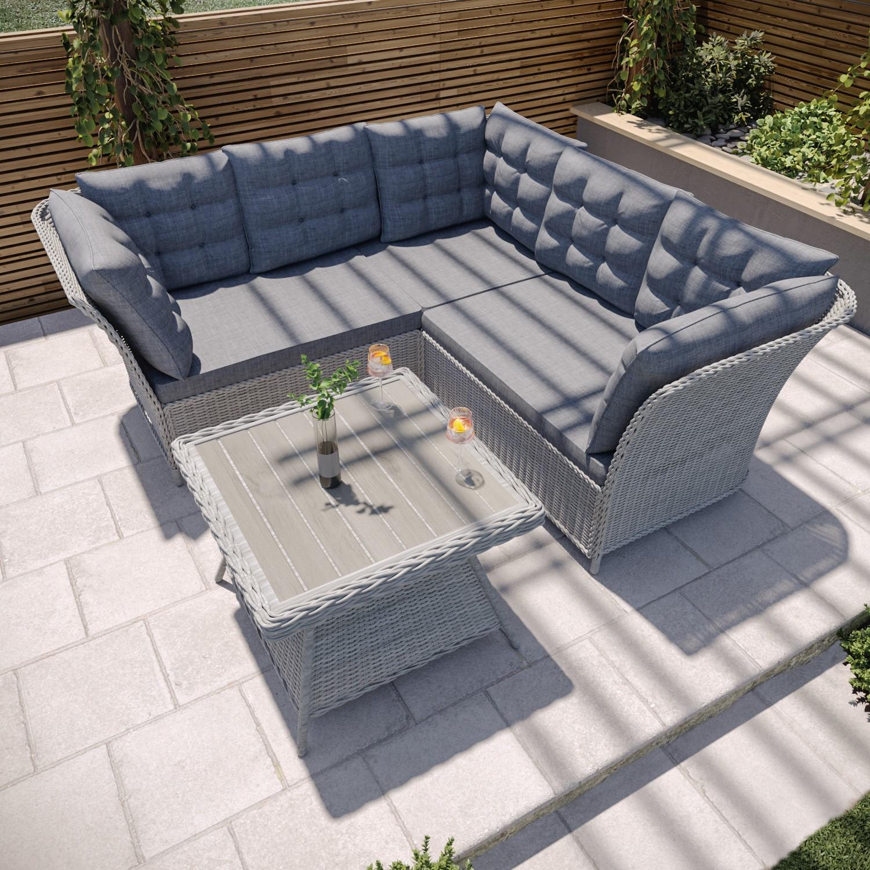 Grey Rattan Garden Furniture Set - Corner Sofa & Table - Aspen | Furniture123