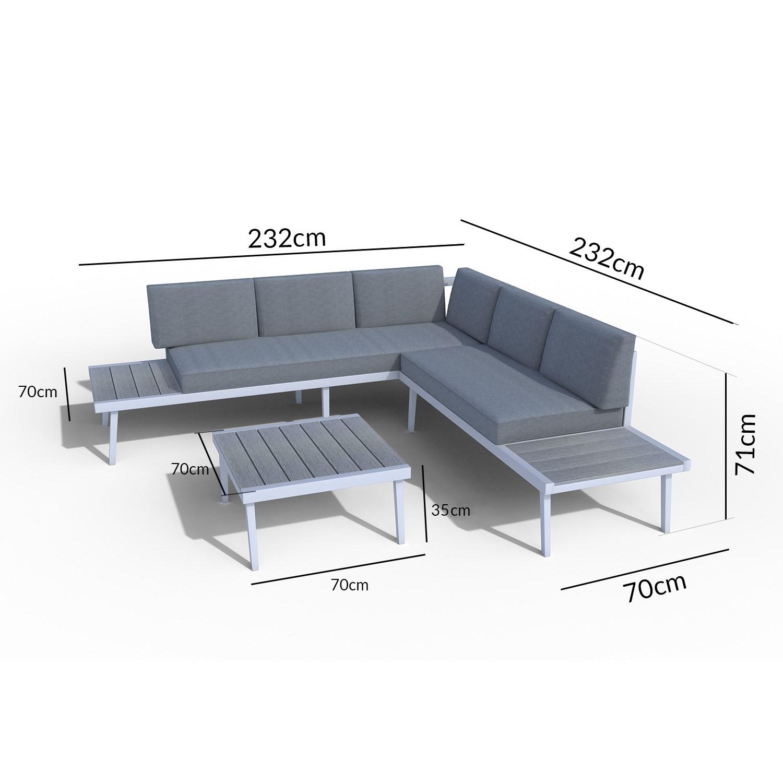 Como Grey Metal Corner Sofa Set - Garden Furniture