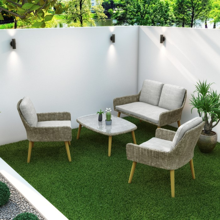 4 Piece Garden Furniture Set In Rattan With Grey Cushions Aspen