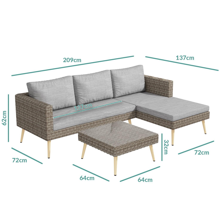 Rattan Garden Recliner Corner Sofa with Cushions & Table