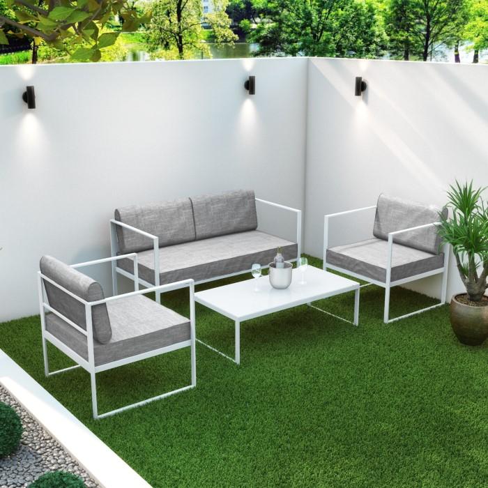 Metal Patio Furniture.4 Piece White Metal Patio Garden Furniture Set With Table Como