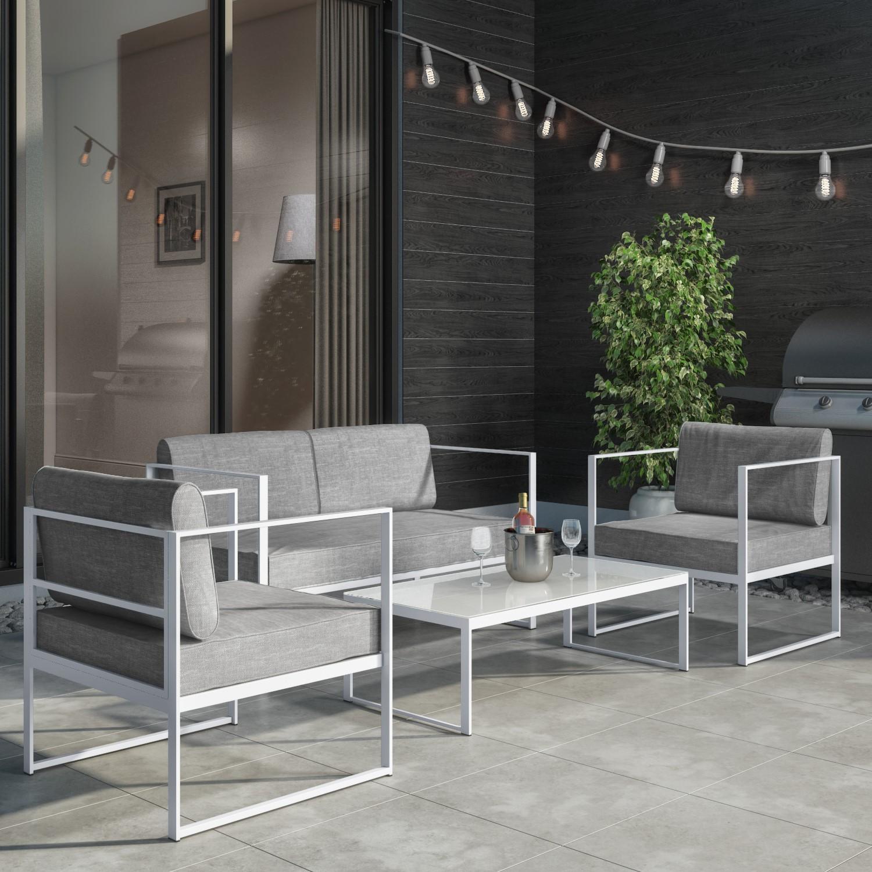 8 Piece White Metal Patio Garden Furniture Set with Table - Como