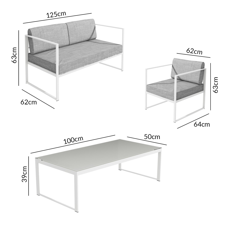 7 Piece White Metal Patio Garden Furniture Set with Table - Como
