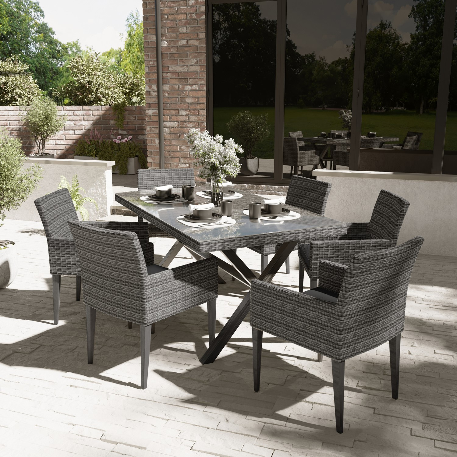 Outdoor Rattan Dining Table Set With 6 Chairs In Dark Grey Furniture123