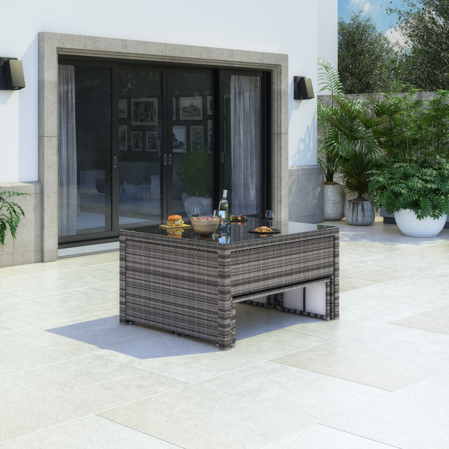 Photo of Grey rattan extending dining table & bench set - seats 8
