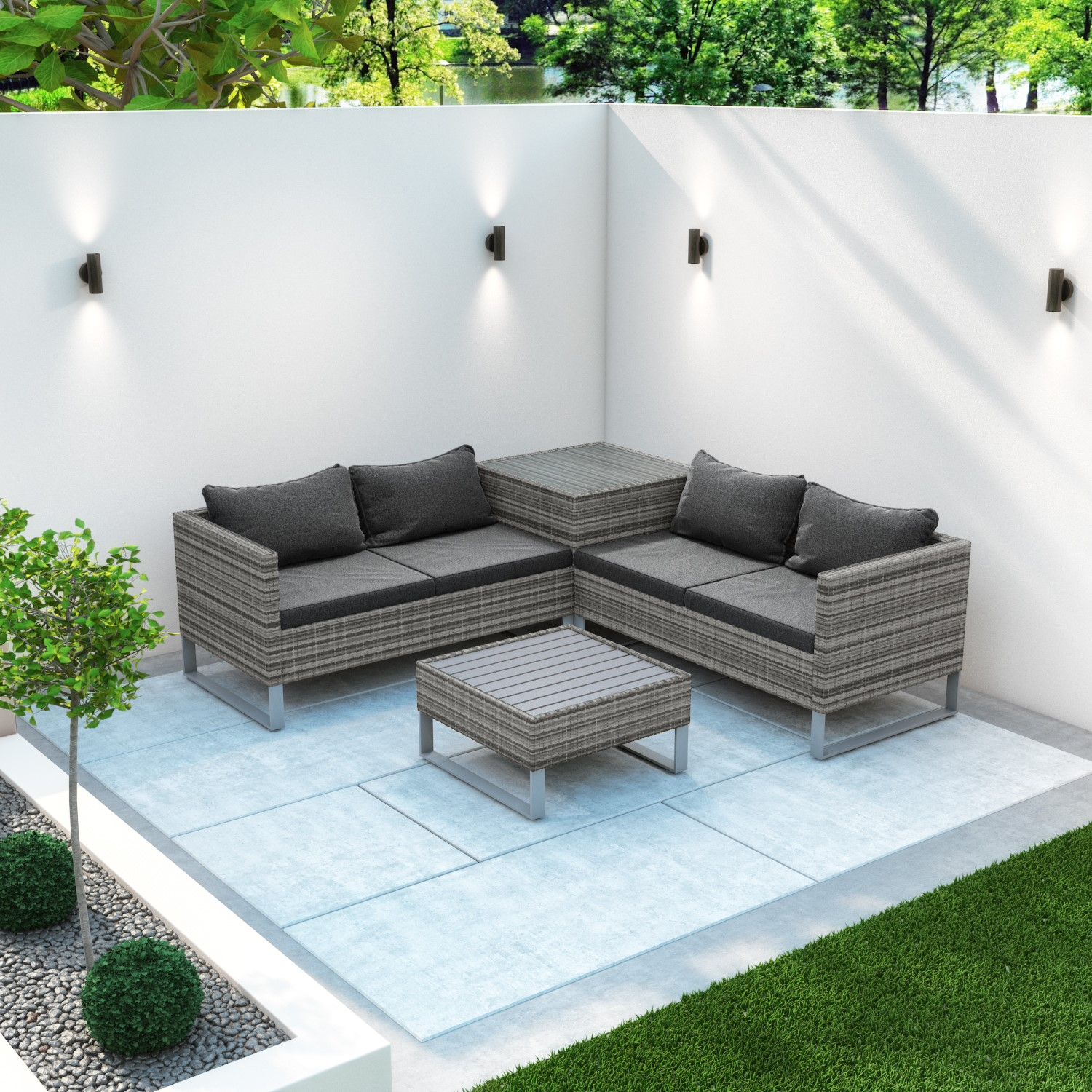 Rattan Corner Sofa Set with Storage Box and Table in Grey