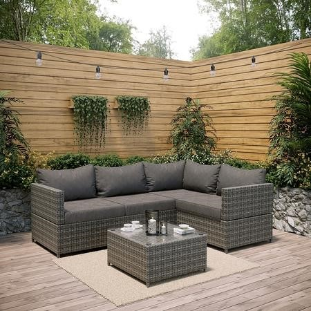 Rattan Corner Sofa and Table Set in Grey - Garden Furniture
