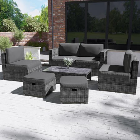 Grey Rattan Garden Sofa & Chair Set with Table & Footstools