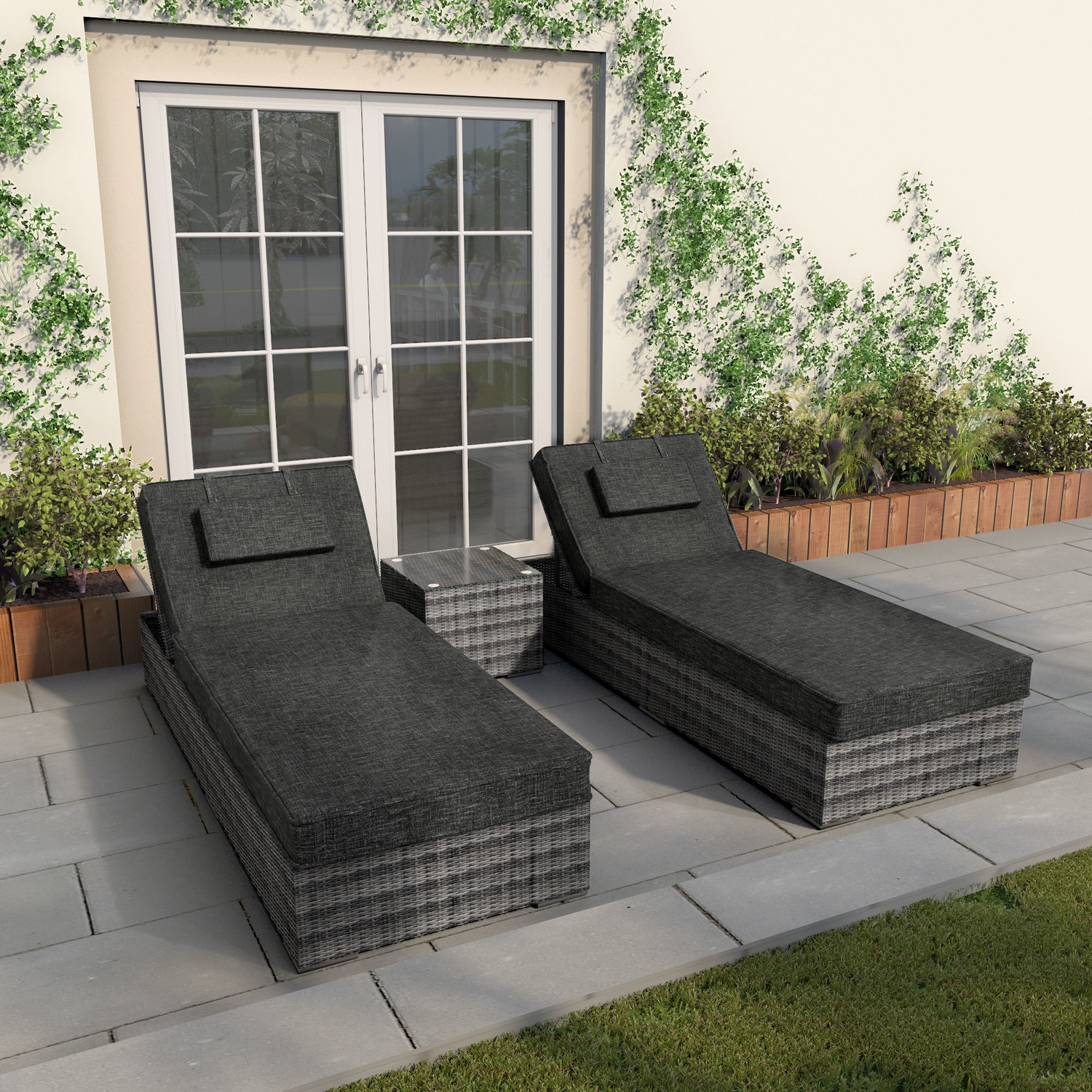 Rattan Sun Loungers with Side Table in Grey - Garden Furniture
